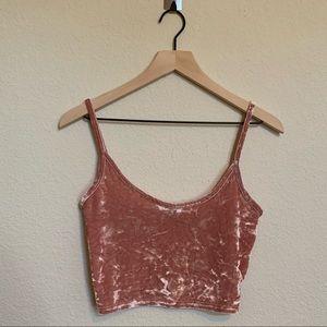 Topshop Women's Pink Velvet Crop Top